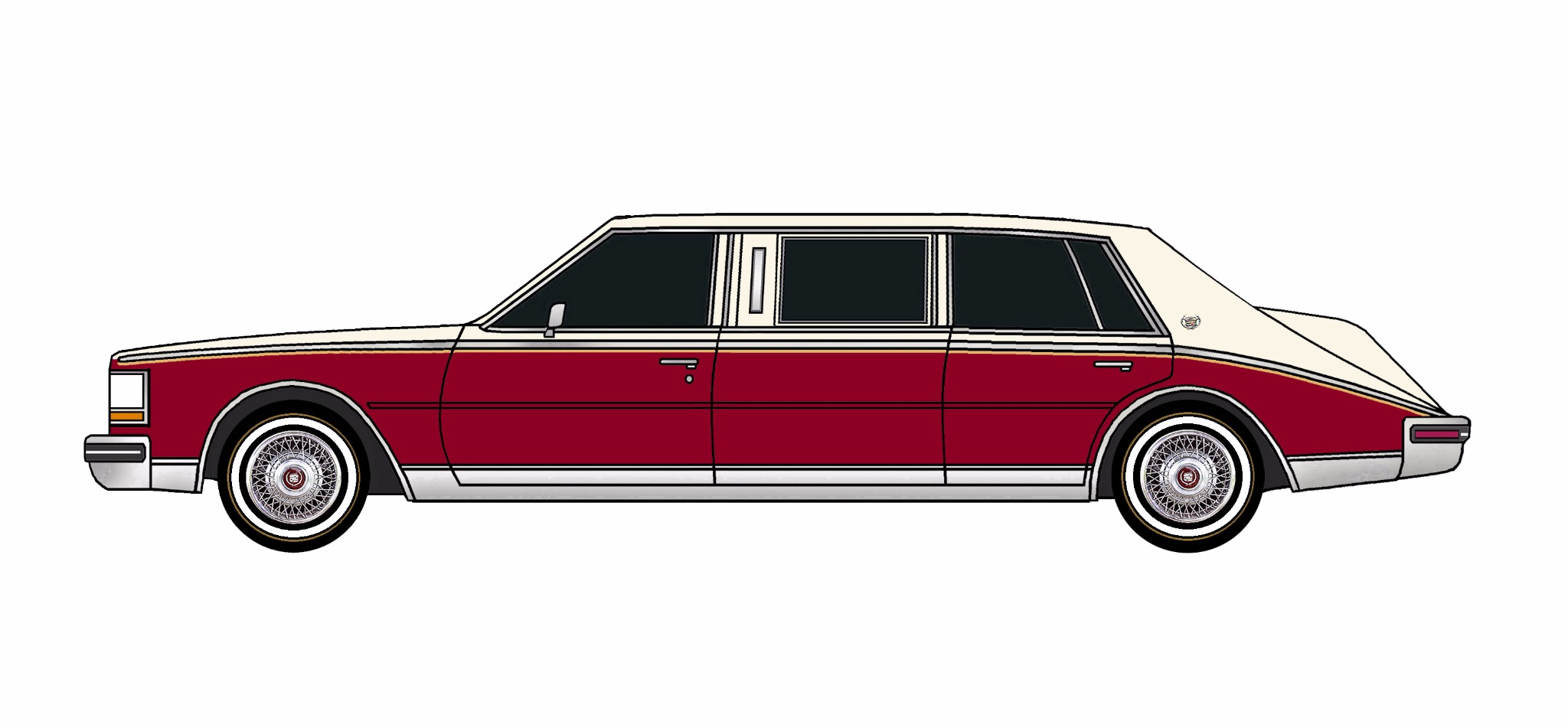 1980 Cadillac Seville Limo SANDY WHITE & DEEP BURGUNDY