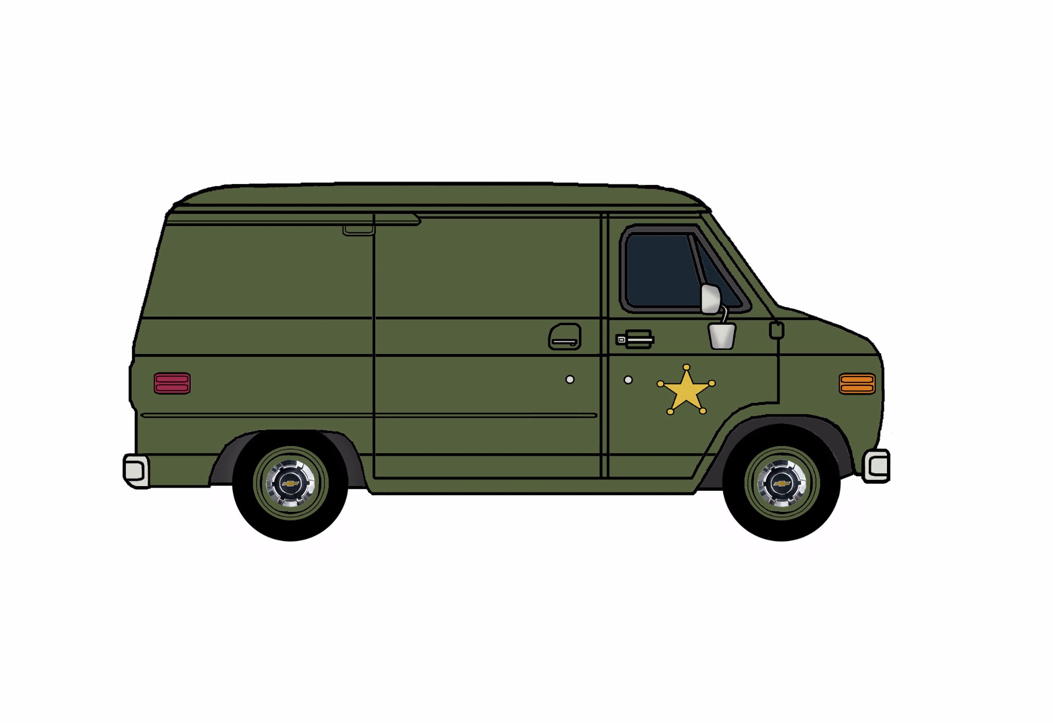 1977 Chevy G10 Police Van ARMY GREEN