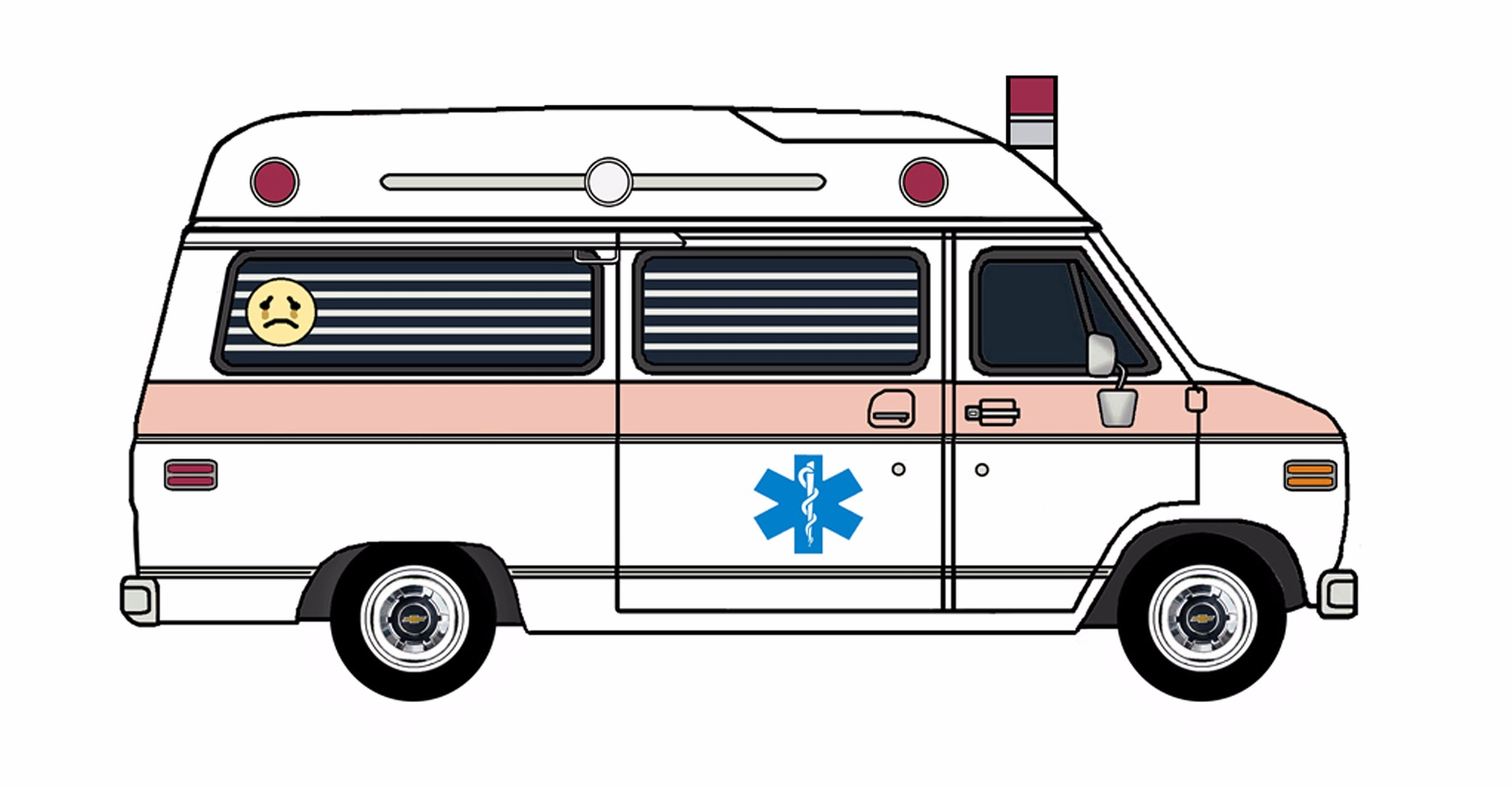 1977 Chevy G20 Ambulance WHITE & ROSE PINK