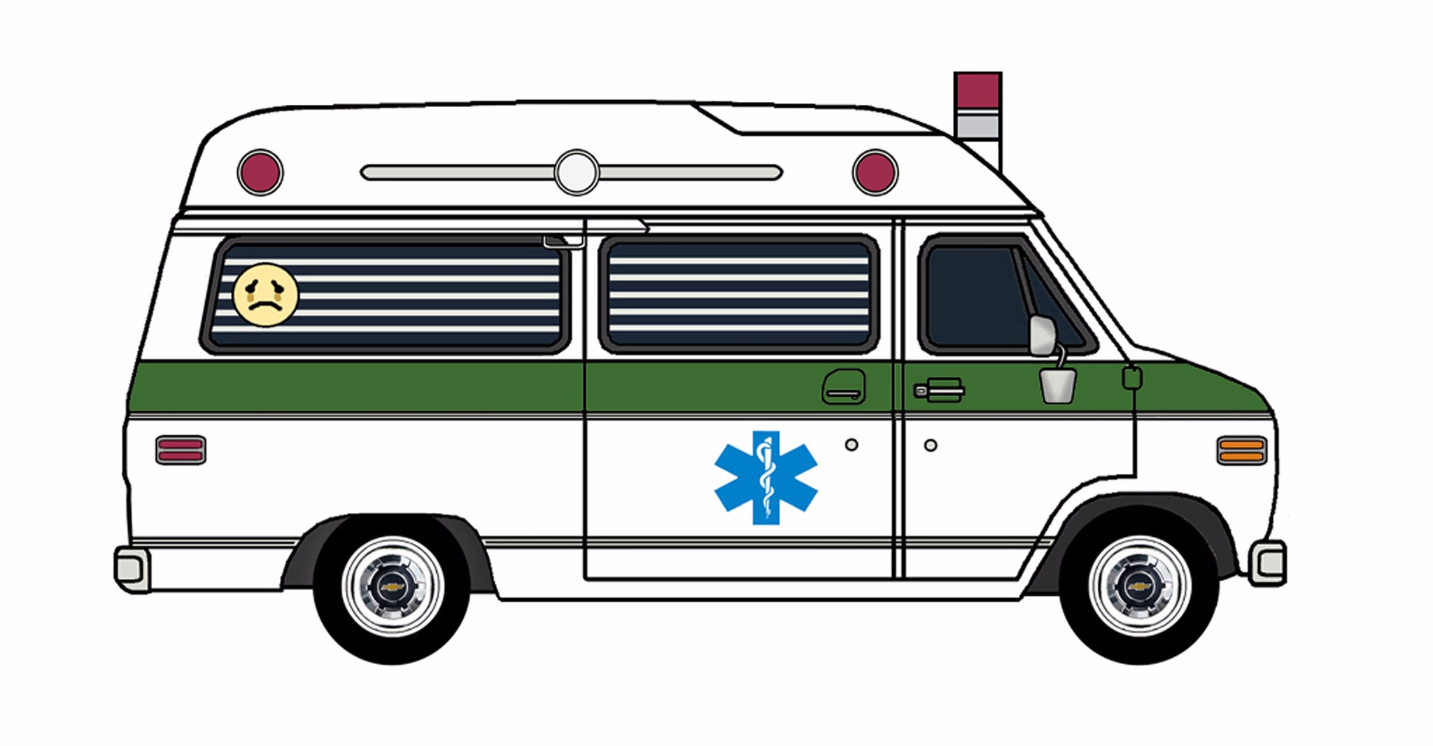 1977 Chevy G20 Ambulance WHITE & EVERGREEN