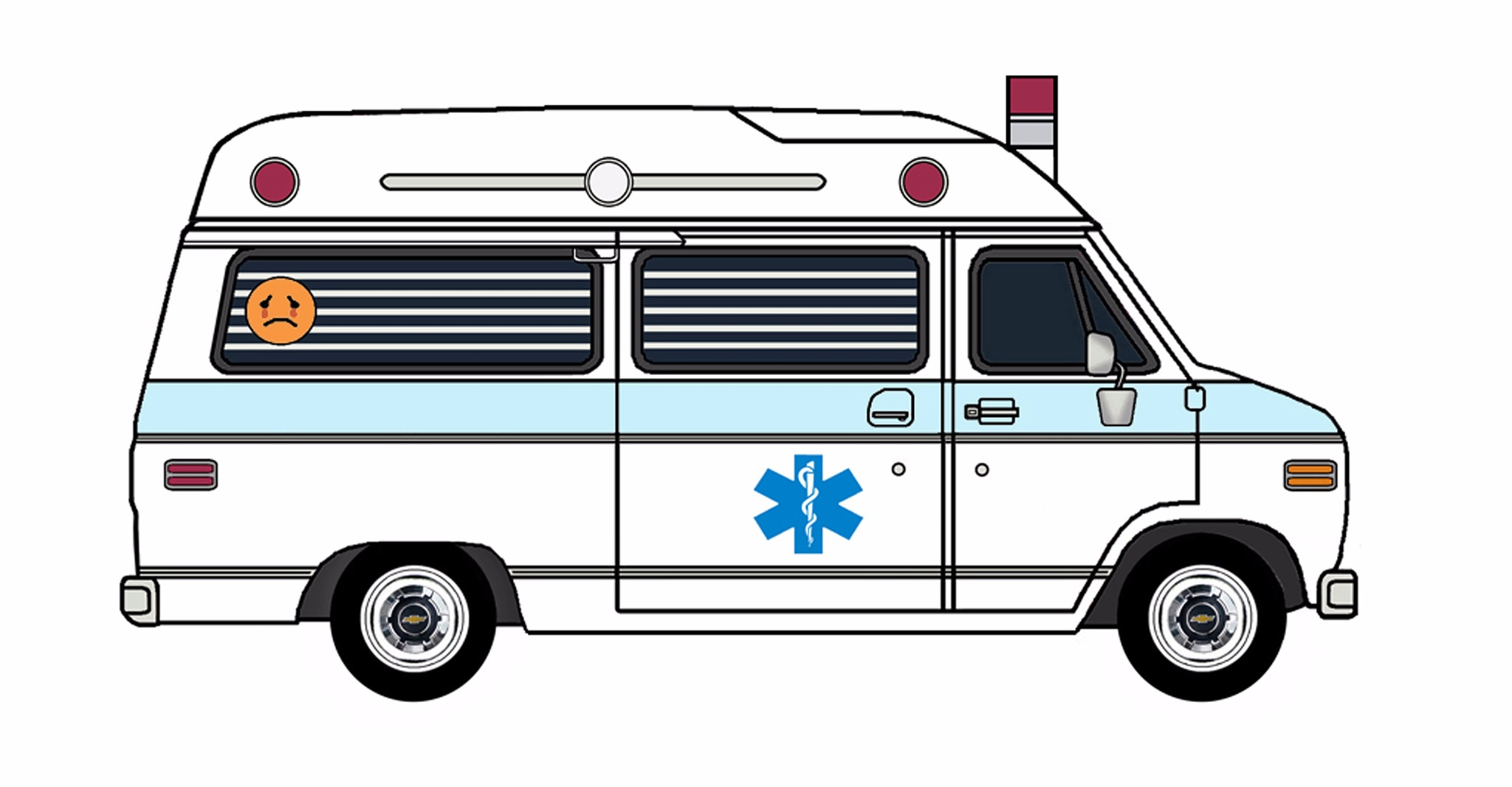 1977 Chevy G20 Ambulance WHITE & PALE BLUE