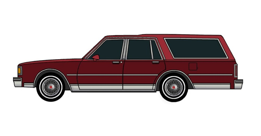 1983 Pontiac Parisienne Safari Wagon CHERRY RED & BURGUNDY