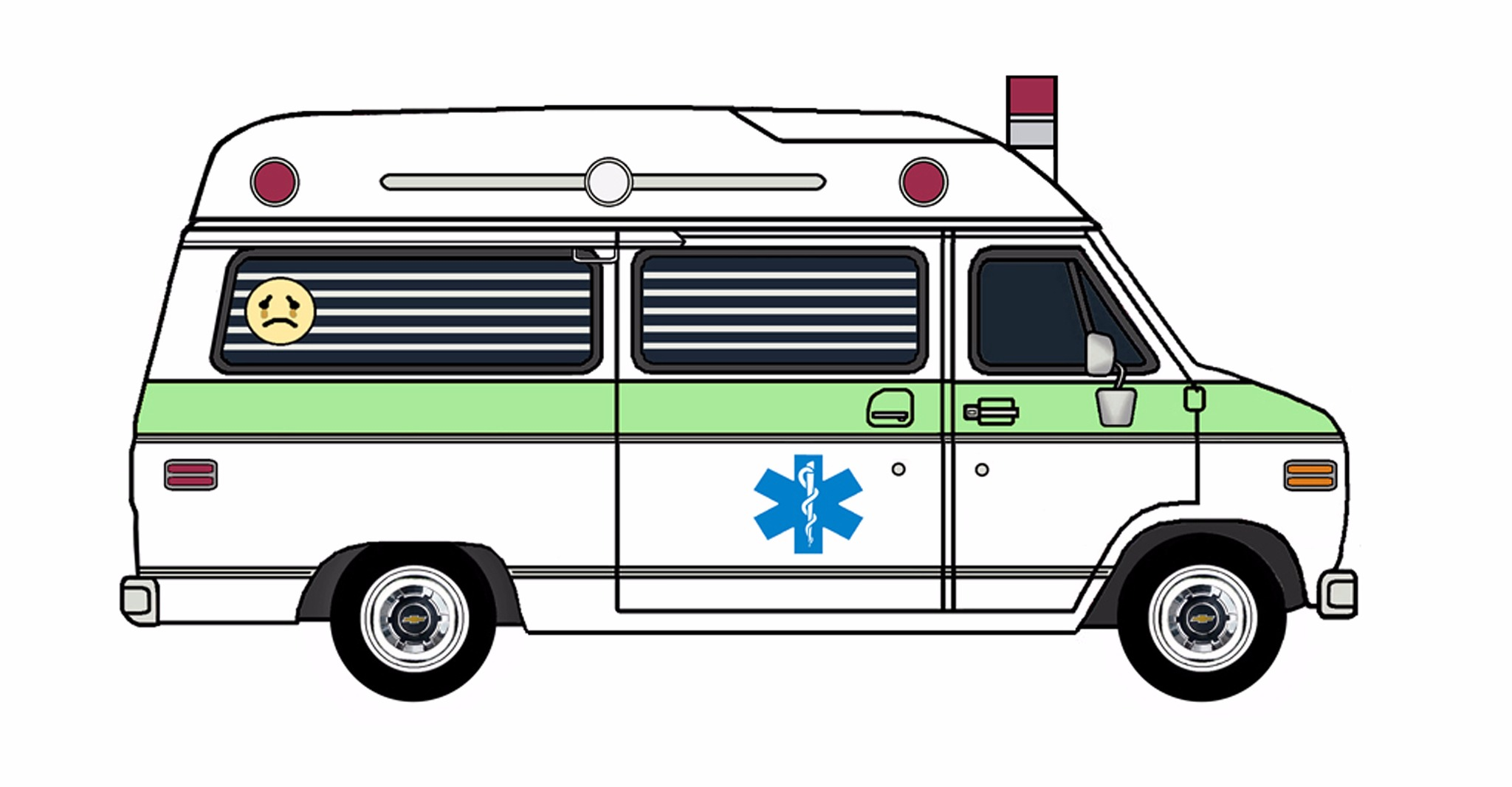 1977 Chevy G20 Ambulance WHITE & SPRING GREEN