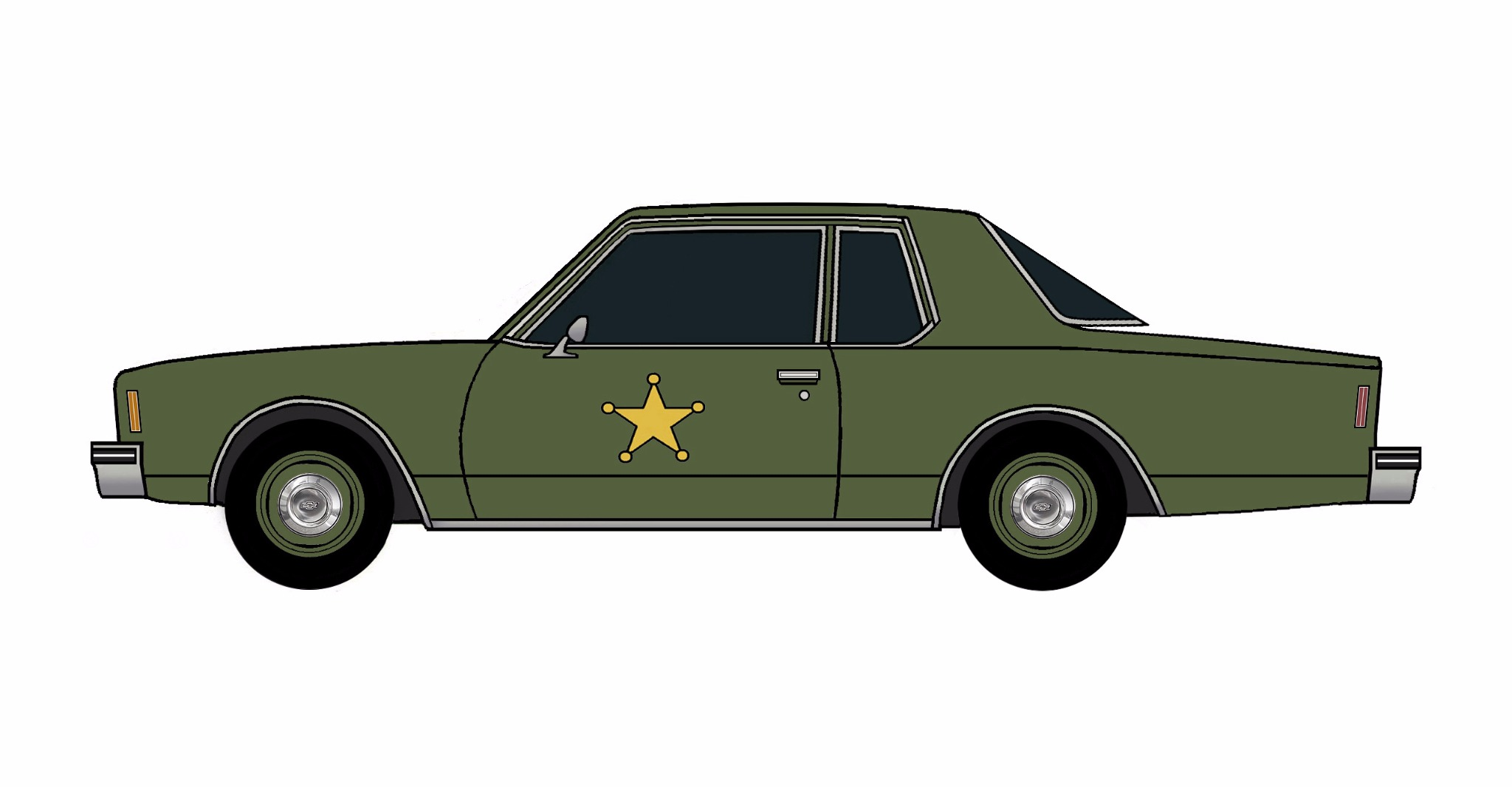 1977 Chevy Impala Police Coupe ARMY GREEN