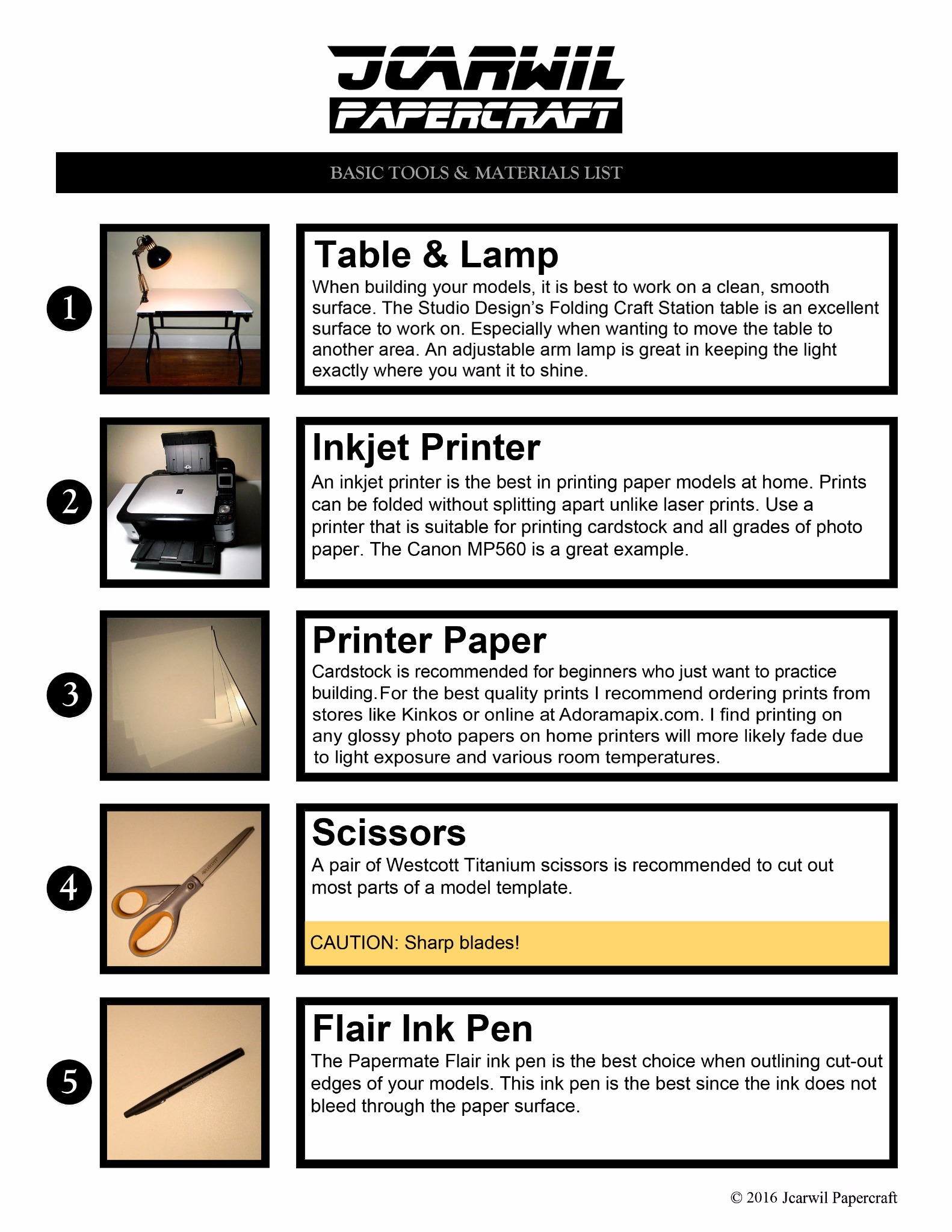 Jcarwil Papercraft Basic Tools & Materials List