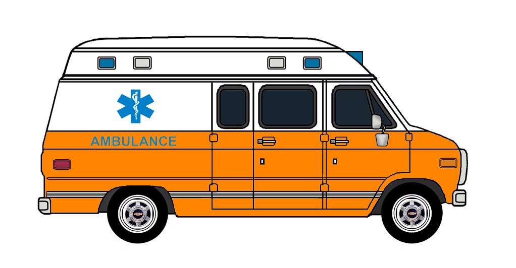 1985-96 Chevy G30 Ambulance WHITE & ORANGE