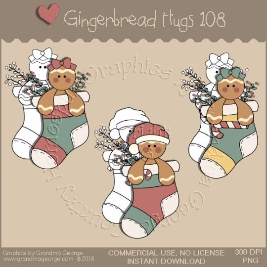Gingerbread Hugs Single Country Graphic 108