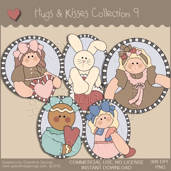 Hugs & Kisses Valentine Country Graphics Collection Vol. 9