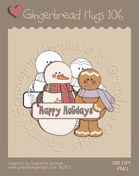 Gingerbread Hugs Single Country Graphic 106