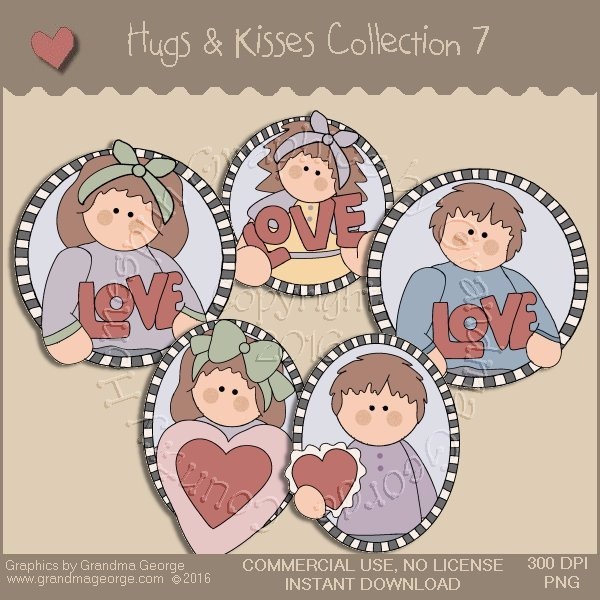 Hugs & Kisses Valentine Country Graphics Collection Vol. 7