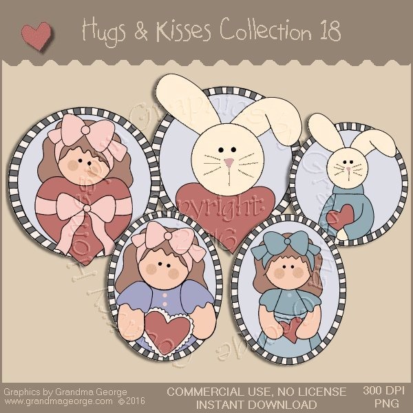 Hugs & Kisses Valentine Country Graphics Collection Vol. 18