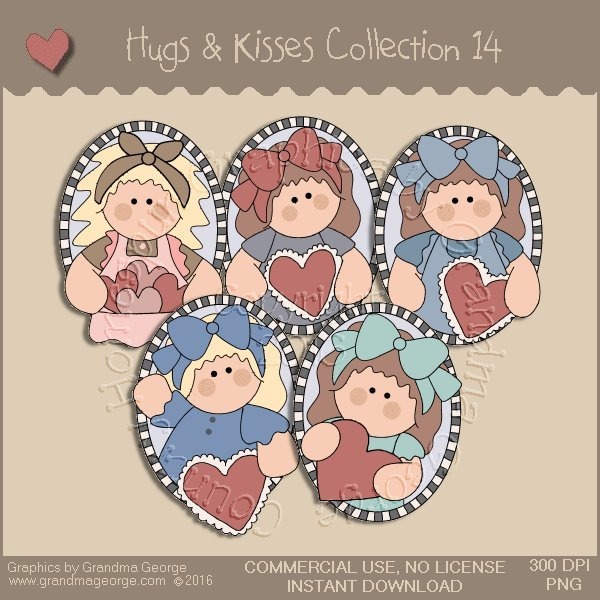 Hugs & Kisses Valentine Country Graphics Collection Vol. 14