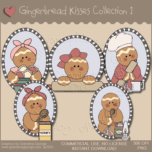 Gingerbread Kisses Country Graphics Collection Vol. 1
