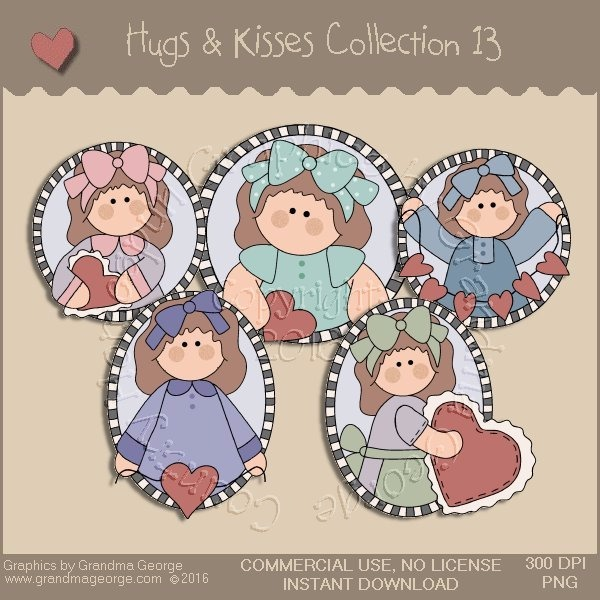 Hugs & Kisses Valentine Country Graphics Collection Vol. 13