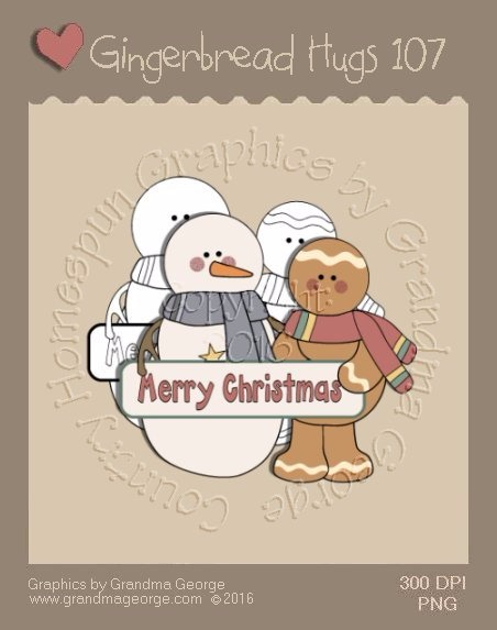 Gingerbread Hugs Single Country Graphic 107