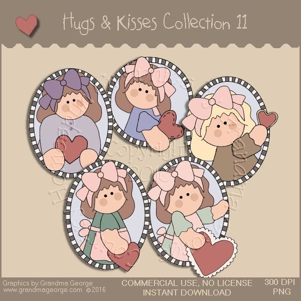 Hugs & Kisses Valentine Country Graphics Collection Vol. 11