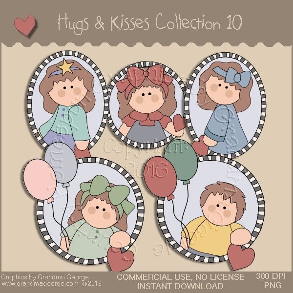 Hugs & Kisses Valentine Country Graphics Collection Vol. 10