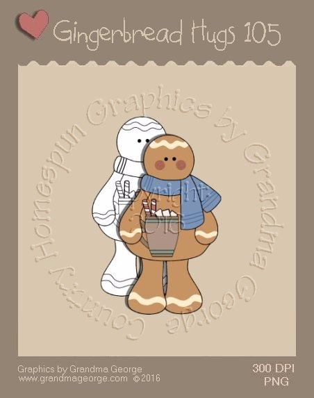 Gingerbread Hugs Single Country Graphic 105