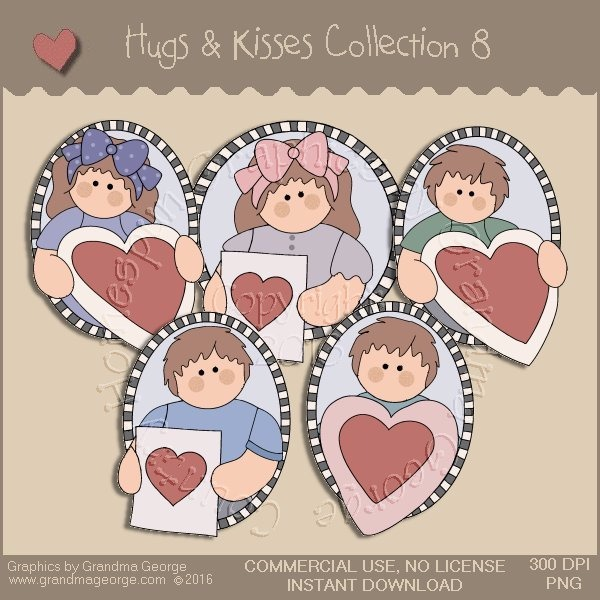 Hugs & Kisses Valentine Country Graphics Collection Vol. 8