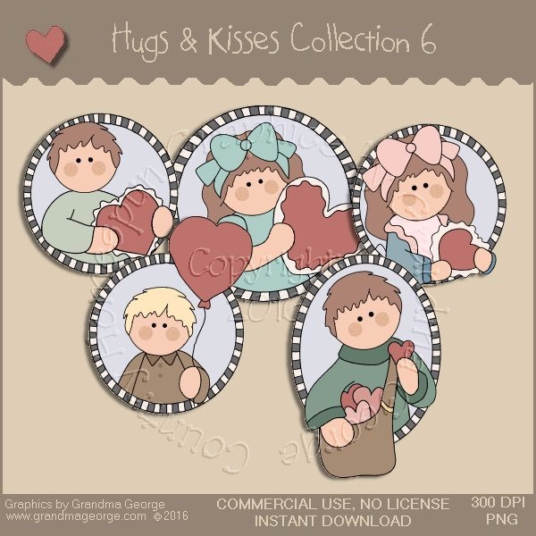 Hugs & Kisses Valentine Country Graphics Collection Vol. 6