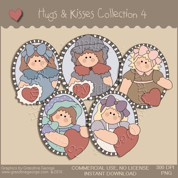 Hugs & Kisses Valentine Country Graphics Collection Vol. 4