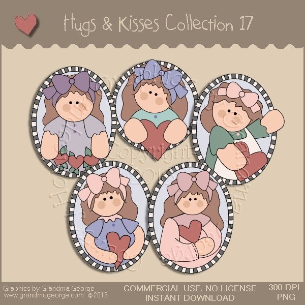 Hugs & Kisses Valentine Country Graphics Collection Vol. 17