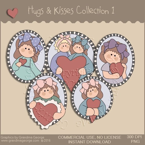 Hugs & Kisses Valentine Country Graphics Collection Vol. 1
