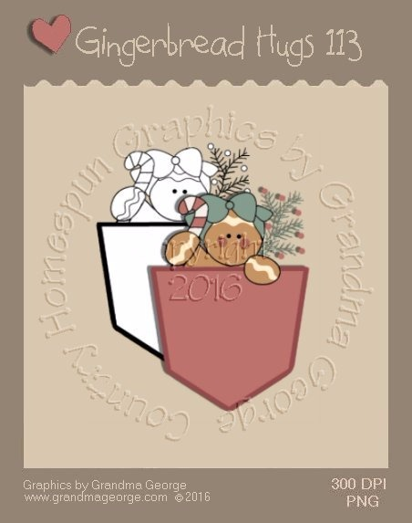 Gingerbread Hugs Single Country Graphic 113