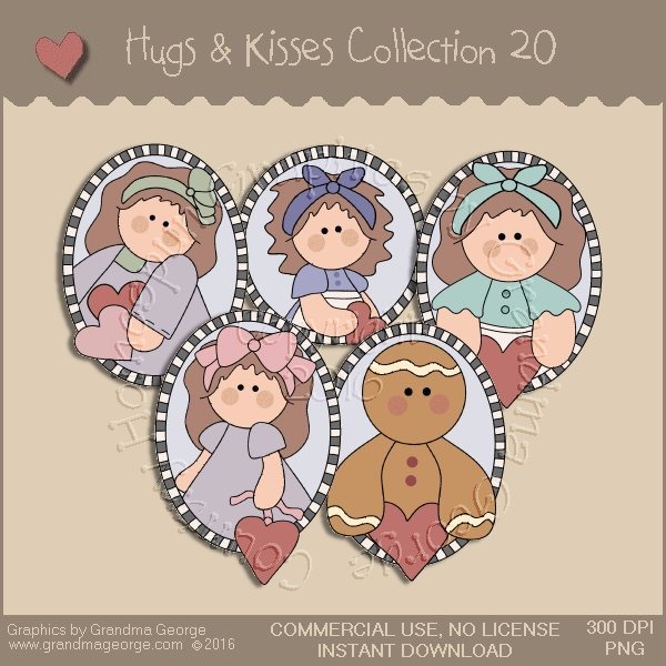 Hugs & Kisses Valentine Country Graphics Collection Vol. 20