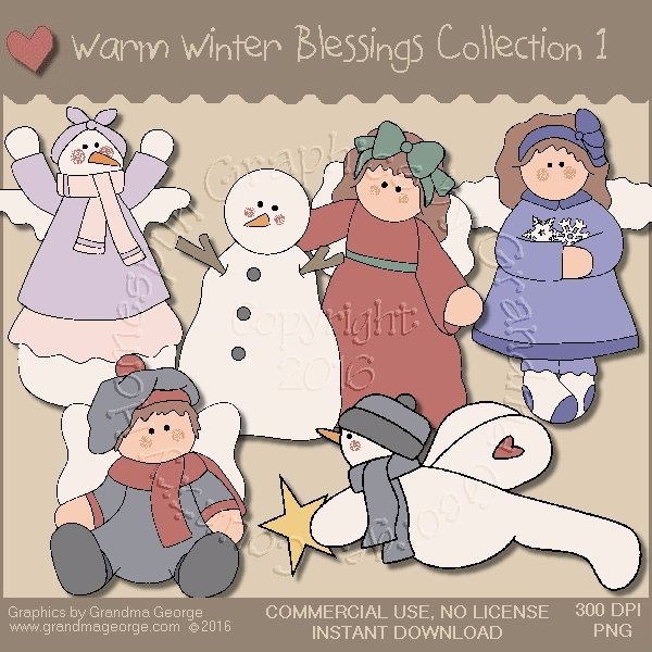 Warm Winter Blessings Country Graphics Collection Vol. 1