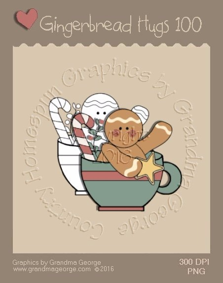 Gingerbread Hugs Single Country Graphic 100