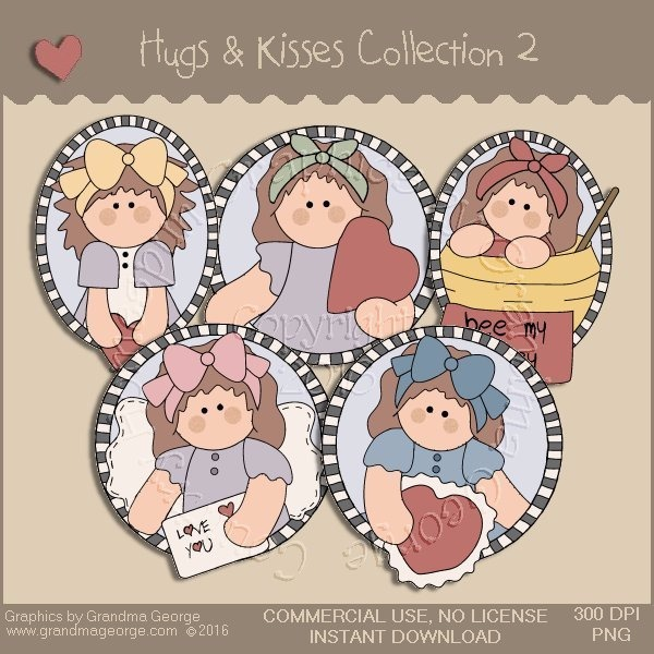 Hugs & Kisses Valentine Country Graphics Collection Vol. 2