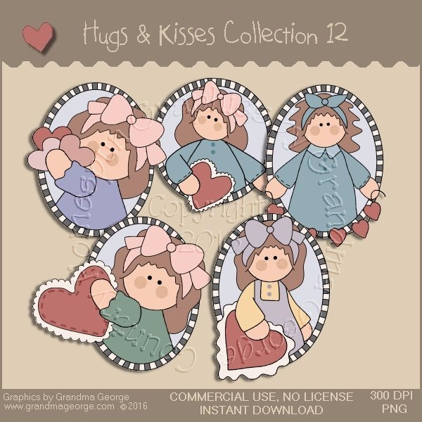 Hugs & Kisses Valentine Country Graphics Collection Vol. 12