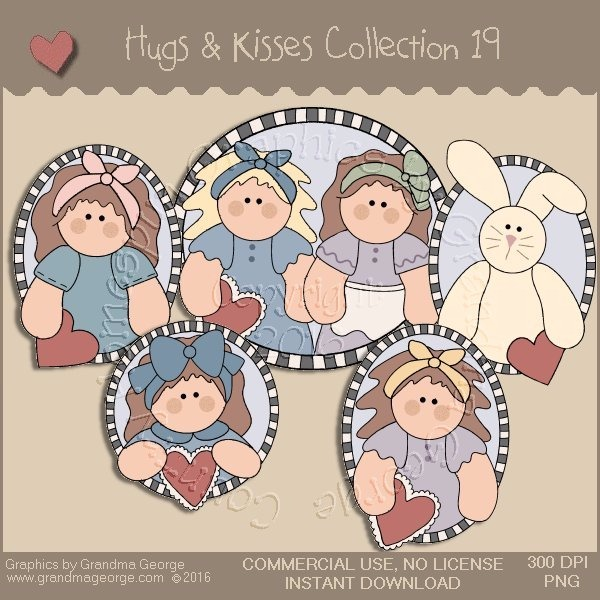 Hugs & Kisses Valentine Country Graphics Collection Vol. 19