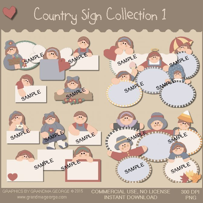 Country Sign Graphics Collection Vol. 1