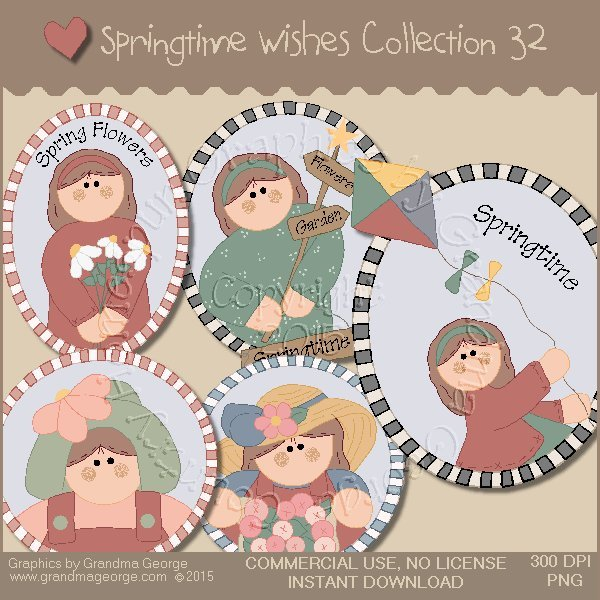 Country Springtime Wishes Graphics Collection Vol. 32