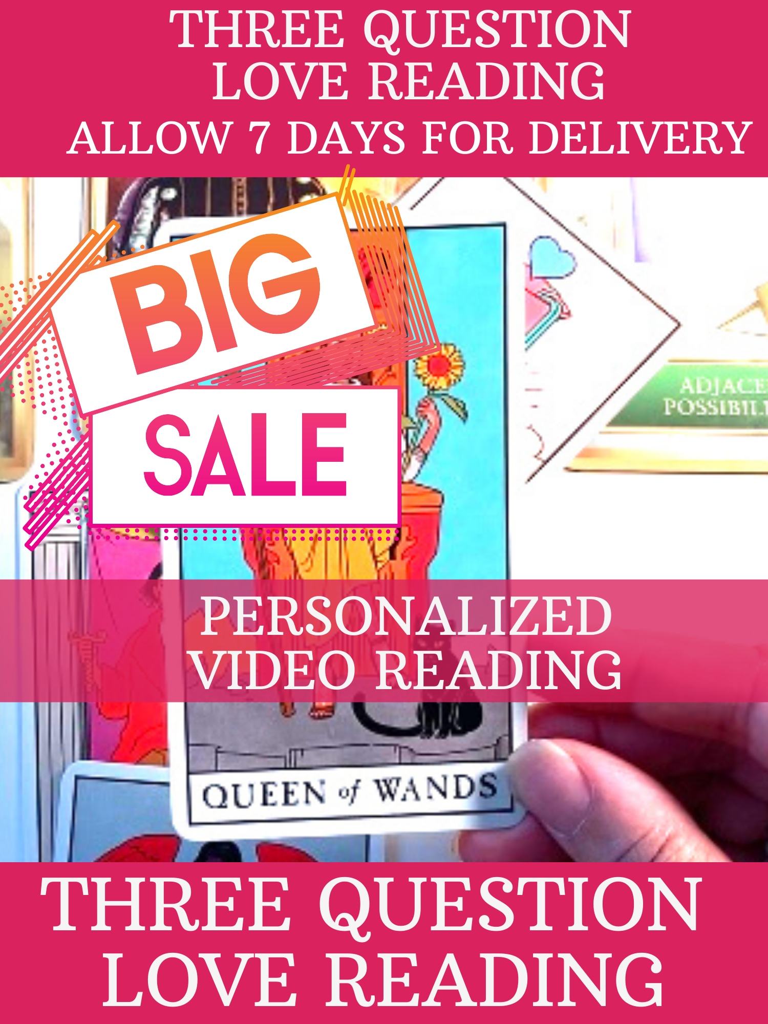 3 QUESTION VIDEO EXTENDED LOVE READING 10 CARD SPREAD (Please Allow Up To 7 Days For Delivery)