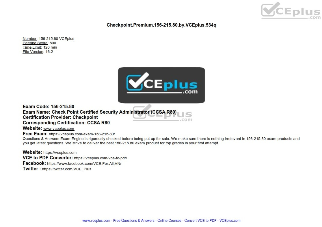 Checkpoint Premium 156-215.80 by VCEplus 534q - [2 months FREE update]