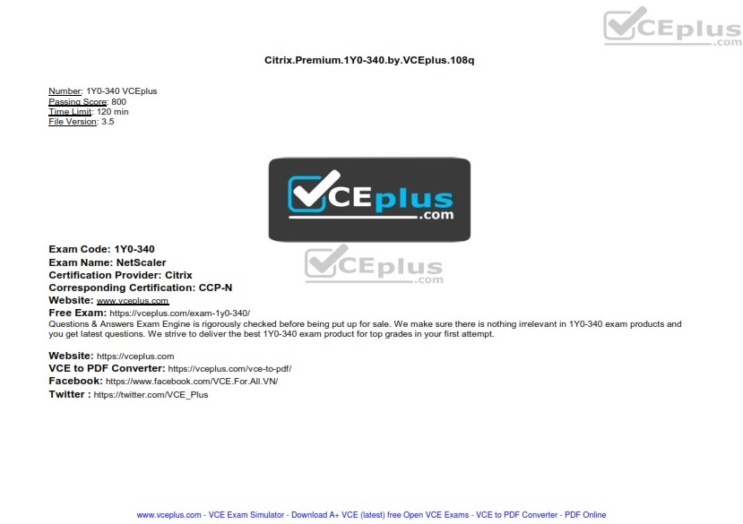 Citrix Premium 1Y0-340 by VCEplus 108q