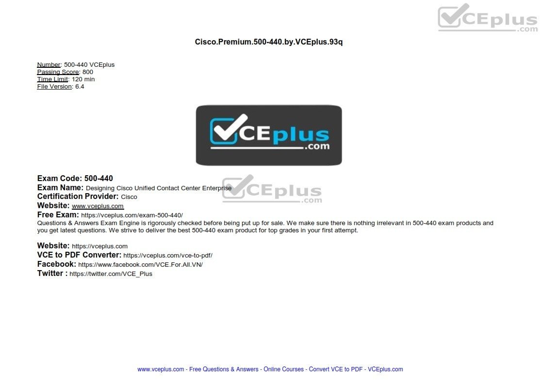 Cisco Premium 500-440 by VCEplus 93q