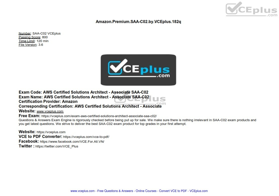 Amazon Premium AWS Certified Solutions Architect - Associate SAA-C02 by VCEplus 182q