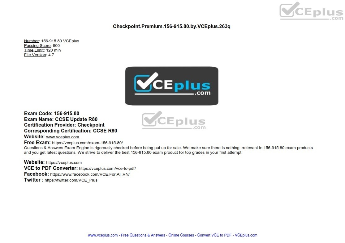 Checkpoint Premium 156-915.80 by VCEplus 263q