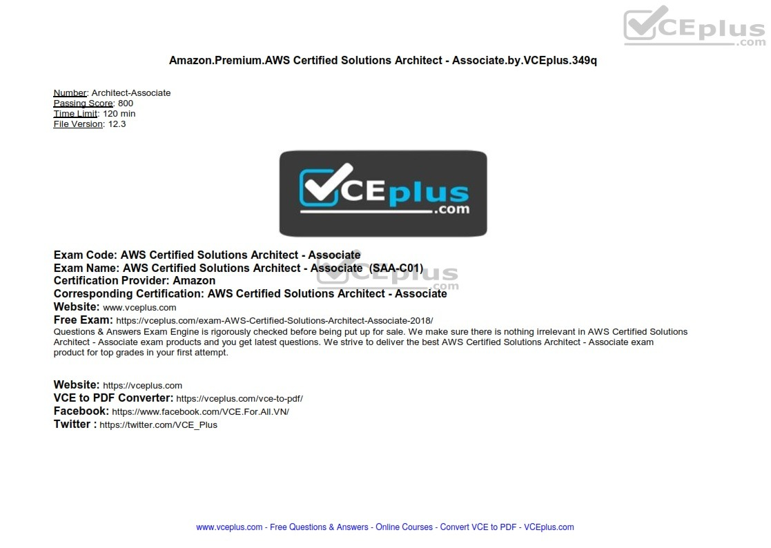 Amazon Premium AWS Certified Solutions Architect - Associate by VCEplus 349q - [2 months FREE]