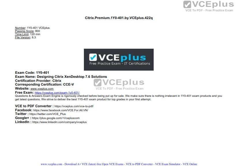 Citrix PREMIUM 1Y0-401 by VCEplus 422q