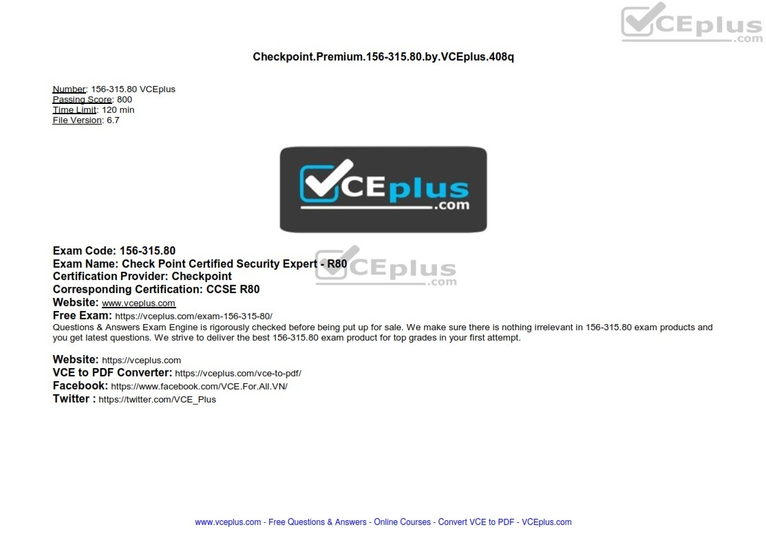 Checkpoint Premium 156-315.80 by VCEplus 408q - [2 months FREE update]