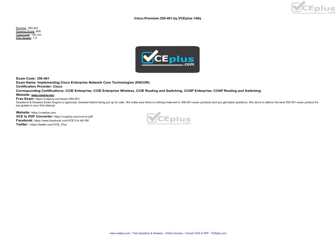 Cisco Premium 350-401 by VCEplus 148q - [2 months FREE update]