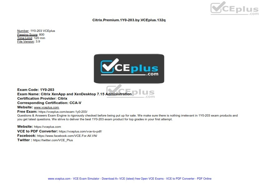 Citrix Premium 1Y0-203 by VCEplus 132q