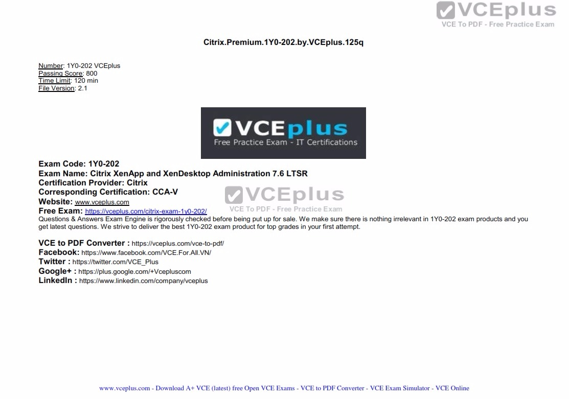 Citrix Premium 1Y0-202 by VCEplus 125q