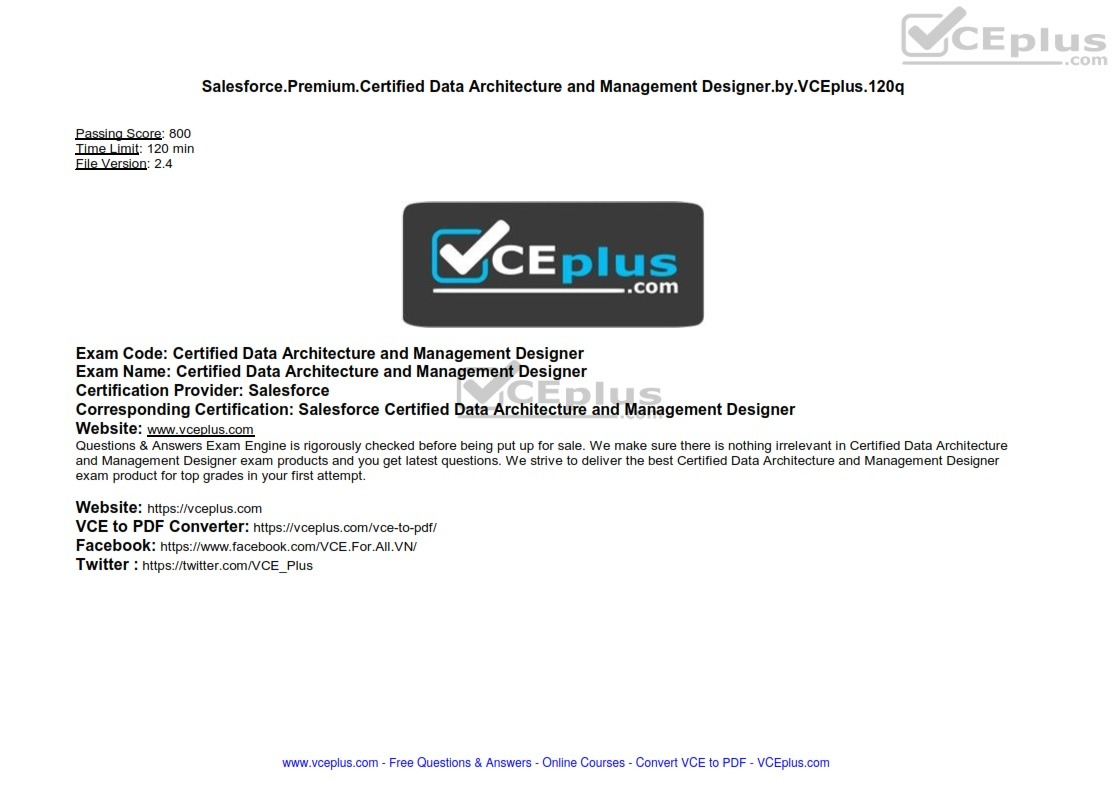 Salesforce Premium Certified Data Architecture and Management Designer by VCEplus 120q