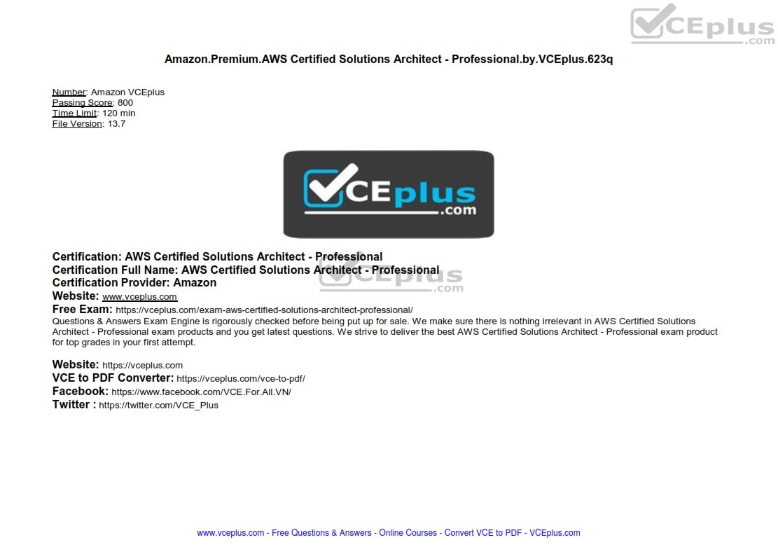 Amazon Premium AWS Certified Solutions Architect - Professional by VCEplus 623q